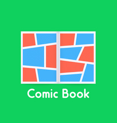 Colored comic book on green background vector