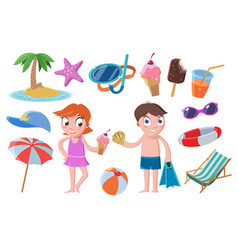 Colorful tropical beach elements set vector