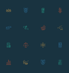 Commerce icons line style set with bear market vector