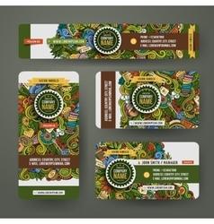 Corporate Identity templates set doodles tea theme vector image