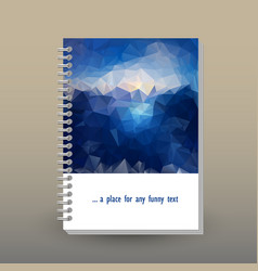 cover of diary sea blue polygonal pattern vector image