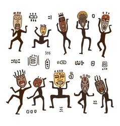 Dancing figures in African masks vector