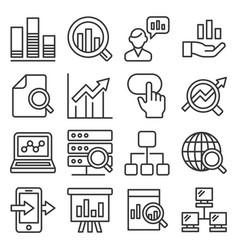 data analysis icons set on white background line vector image