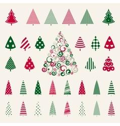 Decoration pine trees celebration set vector