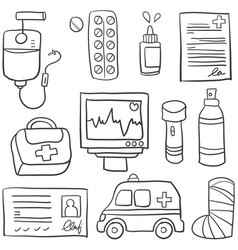 Doodle of medical object collection vector