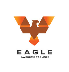 Eagle with creative wings logo template vector