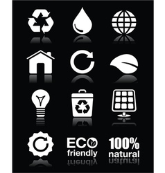 Ecology green recycling white icons set o vector