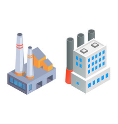 Factory buildings with pipes industrial vector