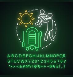 Family camp neon light concept icon summer vector