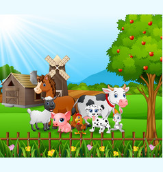 farm background with happy animals vector image