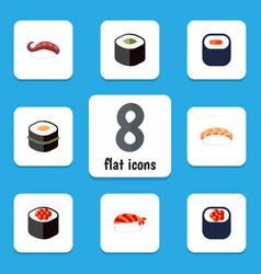 Flat icon sushi set of sashimi sushi salmon vector