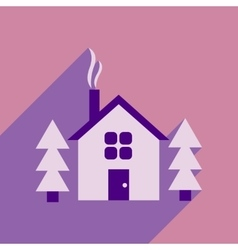 Flat web icon with long shadow house in forest vector