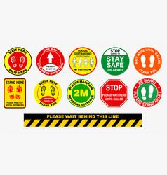 floor social distancing stickers or public vector image
