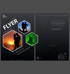 flyer template with hexagonal frames vector image