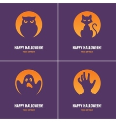 Four purple halloween cards vector