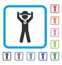 Gentleman champion framed icon vector