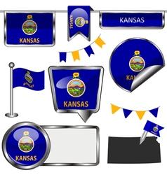 Glossy icons with Kansan flag vector