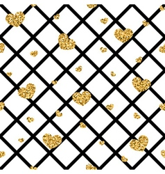 Golden hearts rhombus seamless pattern vector