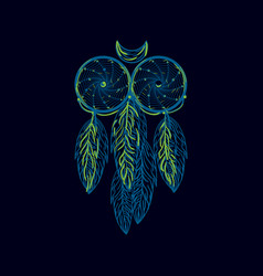 Hand drawn native american dreamcatcher owl with vector