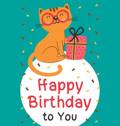 Happy birthday card with cat and gift vector