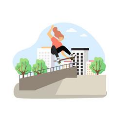 happy girl enjoying skateboarding flat vector image