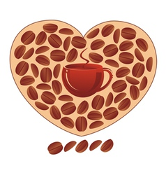 Heart with coffee grains vector