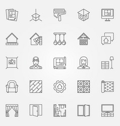 Interior design icons set vector
