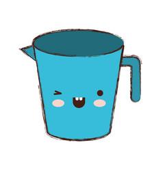 jar with handle colorful kawaii blurred contour vector image