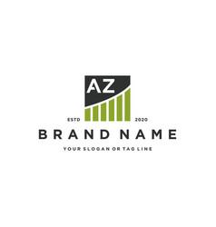 Letter az chart financial logo design vector