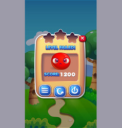 level failed mobile game user interface gui assets vector image