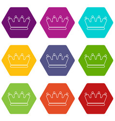 line crown icons set 9 vector image