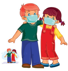 little boy and girl in medical masks vector image