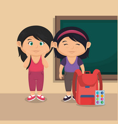 Little school girls with education supplies vector