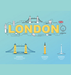 London landmarks icons in england for traveling vector