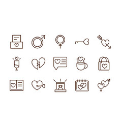 love heart romantic passion feeling related icons vector image