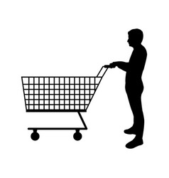 man icon with shopping cart vector image