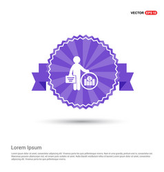 man with clock and money icon - purple ribbon vector image