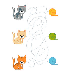 maze game for children cat and ball yarn vector image