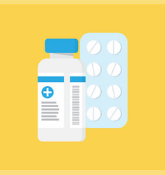 medical container and blister with pills vector image