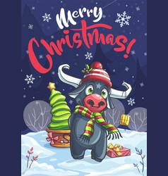 Merry christmas funny cartoon bull in night vector