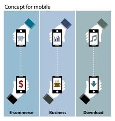 Mobile concept e-commerce business download vector