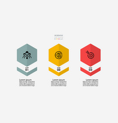 New design hexagon has 3 steps that can vector