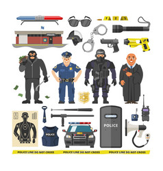 Police people policeman and criminal vector