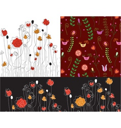 Poppy patterns vector