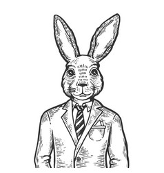 Rabbit businessman engraving vector