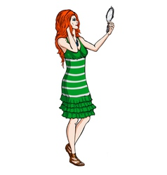 Red-haired girl with a mirror vector image