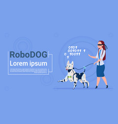 Robotic dog guiding blind woman cute domestic vector