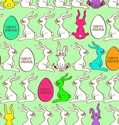 Seamless pattern of bunny rabbits and Easter eggs vector image