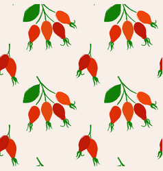 seamless pattern with rose hip berries vector image