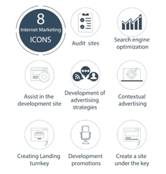 Seo and internet marketing icon set vector image